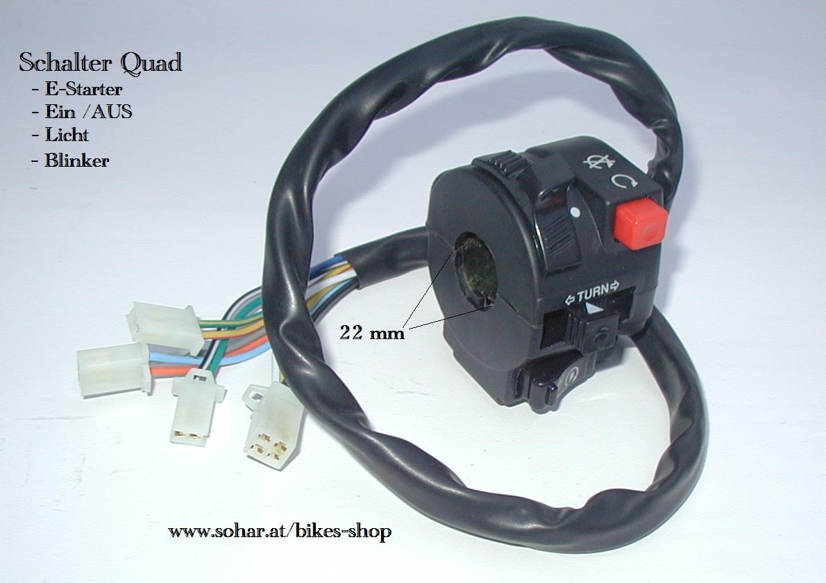Schalter Quad 4 Kabel / Start Stop E-Start Licht - Motocross ...