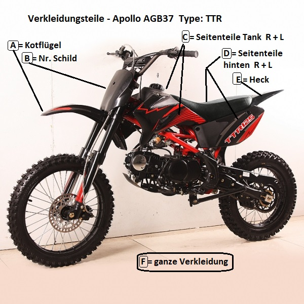 verkleidung cross bike type ttr motocross kindermotorrad. Black Bedroom Furniture Sets. Home Design Ideas