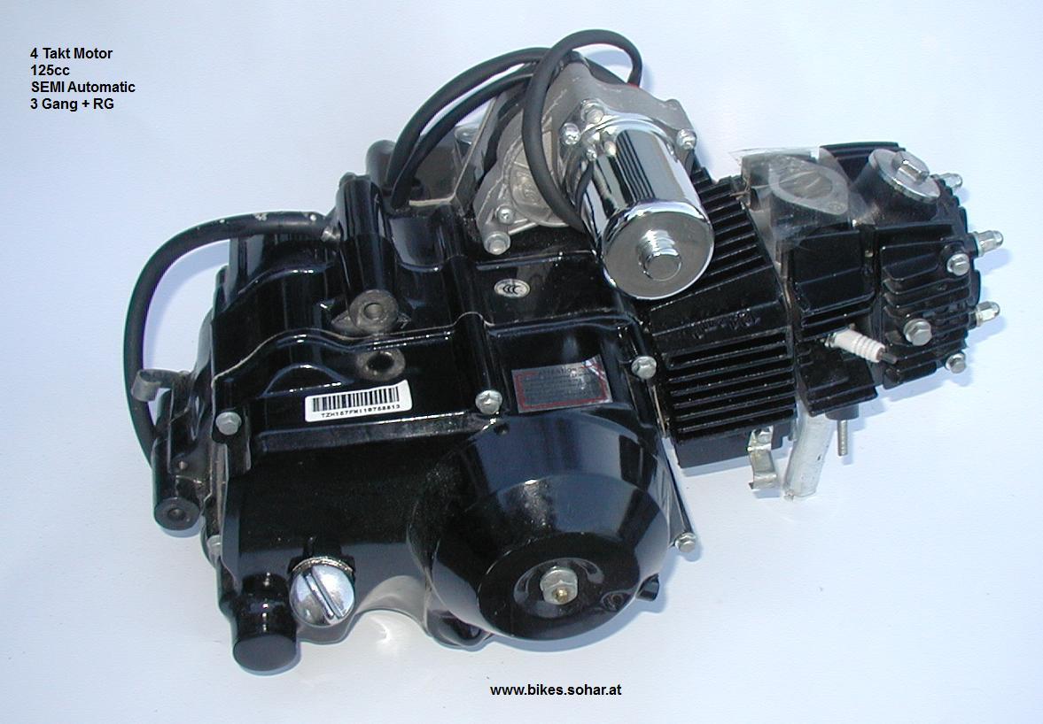 125cc 4 Takt Semi Automatik 3 Gang + Rückwärtsgang - Motocross ...